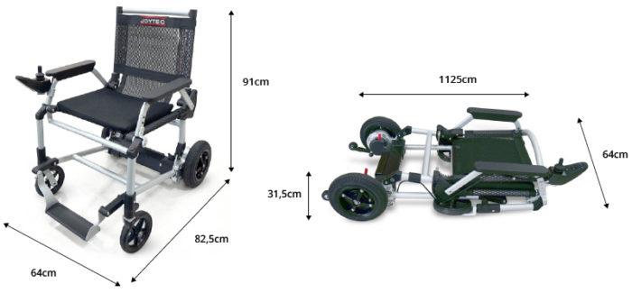 Medidas de la silla de ruedas eléctrica Joytec