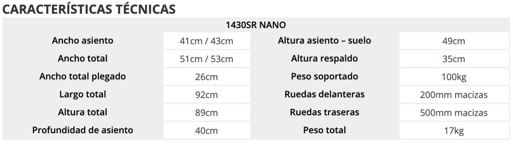 Características silla manual estrecha TEC 50