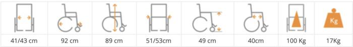 silla manual estrecha TEC 50