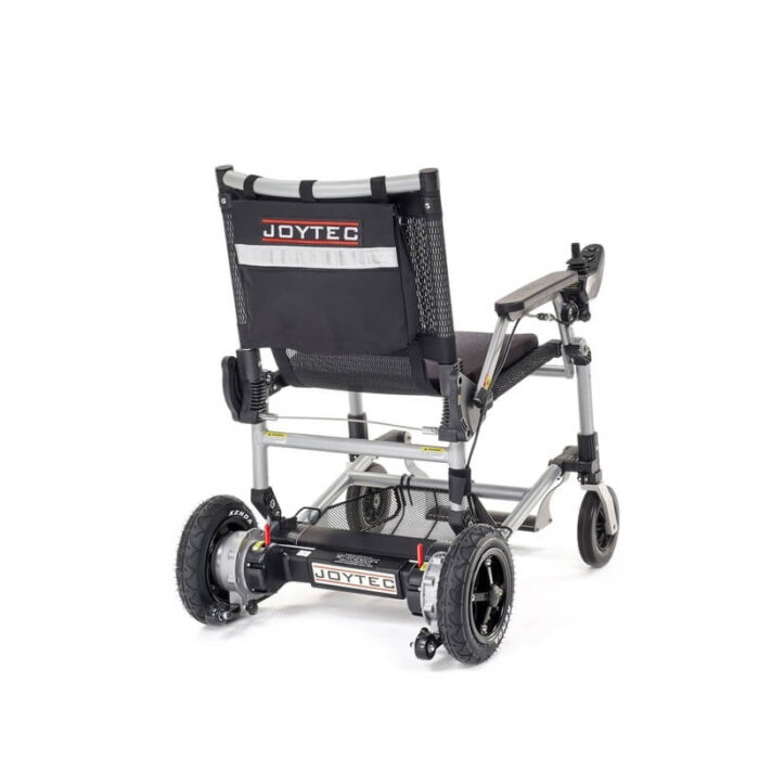 Silla de ruedas eléctrica plegable Joytec negra vista trasera